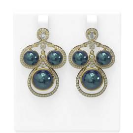 2.61 ctw Diamond & Pearl Earrings 18K Yellow Gold -