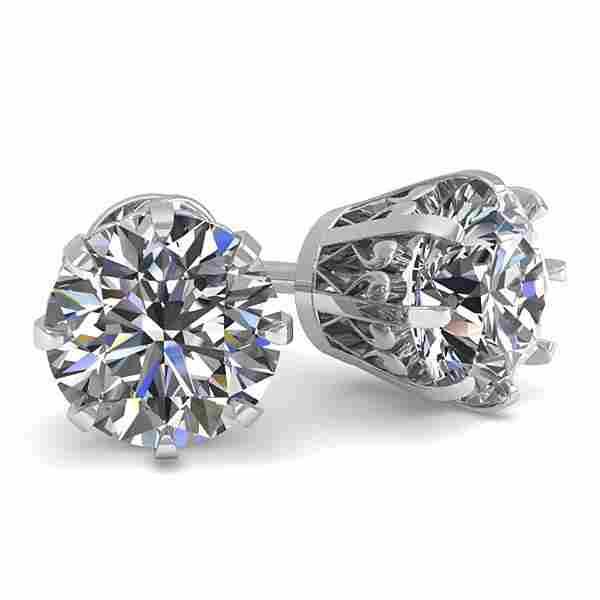 1.50 ctw VS/SI Diamond Stud Earrings Vintage 14k White