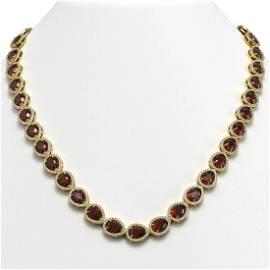 36.93 ctw Garnet & Diamond Micro Pave Halo Necklace 10k