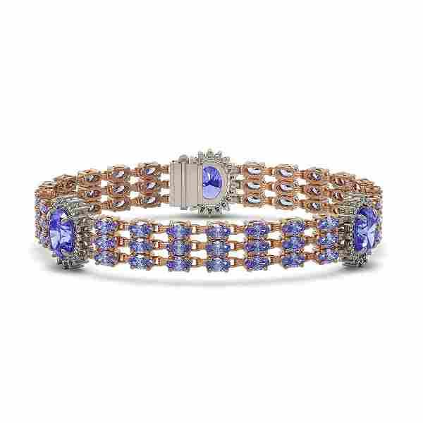 29.71 ctw Tanzanite & Diamond Bracelet 14K Rose Gold -