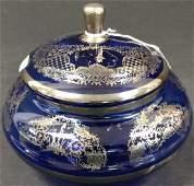 Cobalt Silver Overlay Bowl