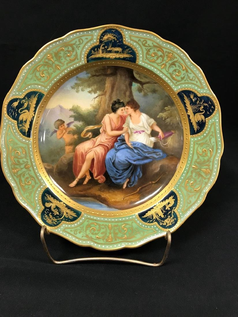 Meissen Green Plaque with two ladies and cupid in