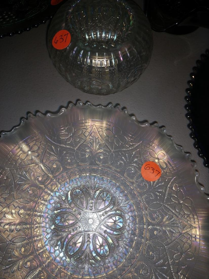 White Carnival Glass 2 Pieces