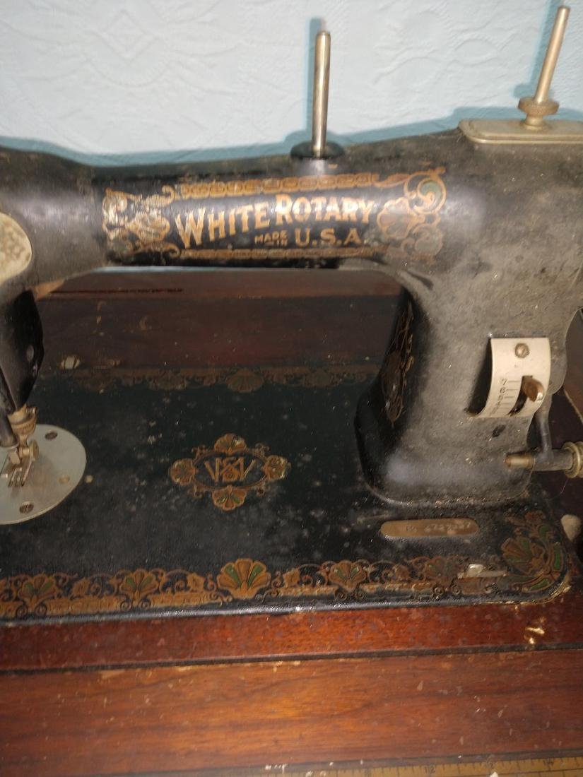White Rotary Sewing Machine & Cabinet - 2