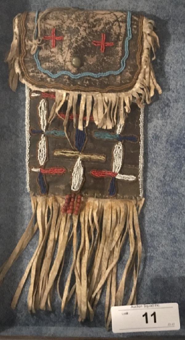 Framed Original Beaded Indian Medicine Bag
