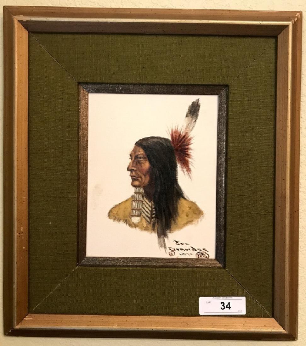 """Joe Ruiz Grandee Framed Oil On Board, """" Indian"""