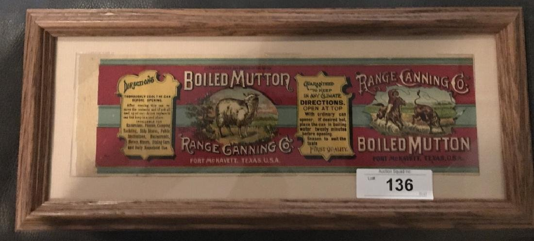 Boiled Mutton Range Canning Co Label
