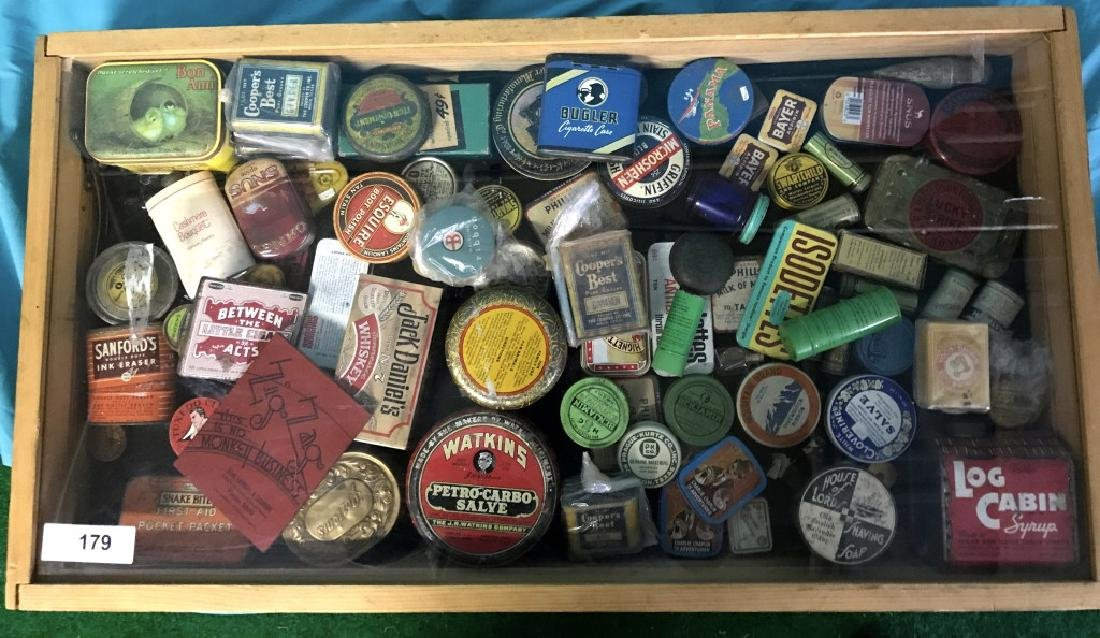 Display Box With Approx 83 Vintage Tins & Misc