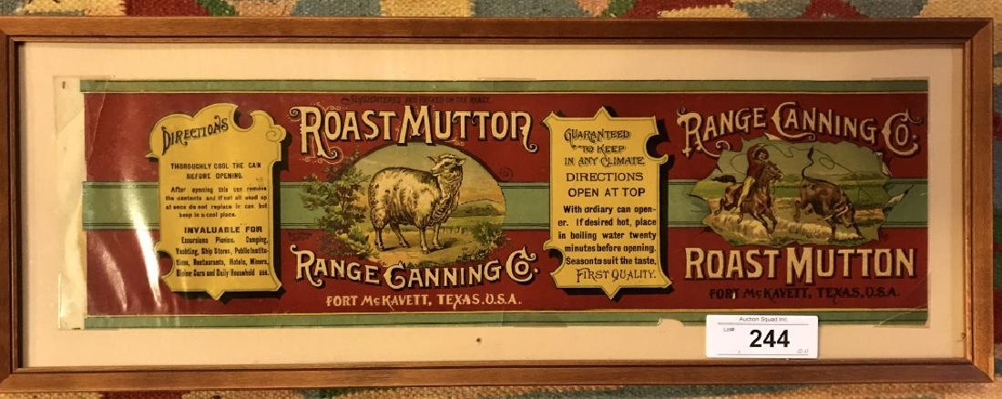Roast Mutton Range Canning Co Original Label In