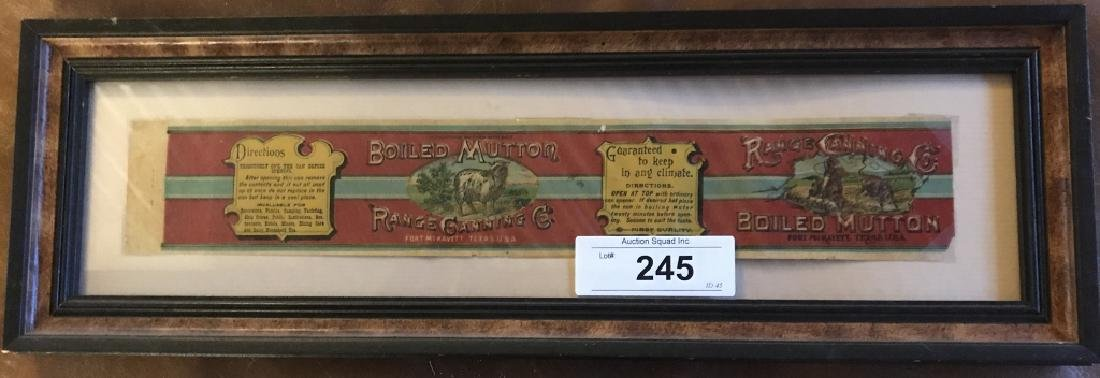 Original Boiled Mutton Range Canning Co Label