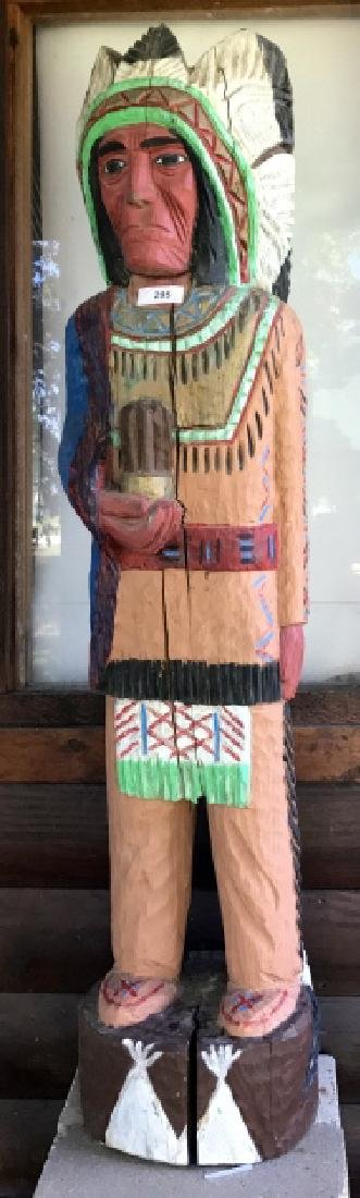 Life Sized Hand Carved & Painted Chief Indian
