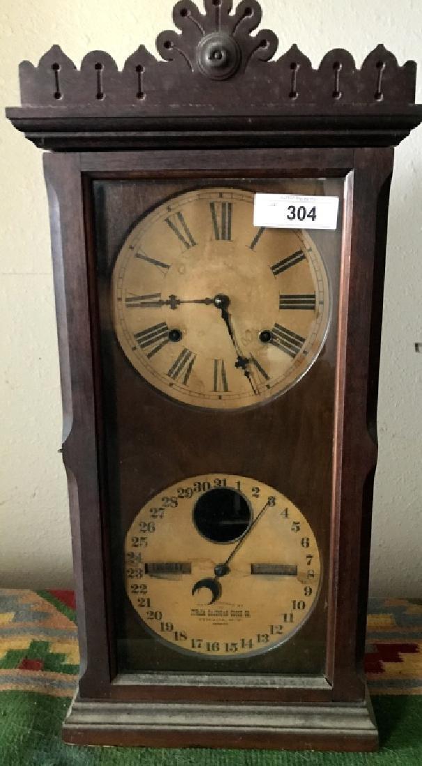 Antique Oak Cased Calendar Clock By Ithaca Clock