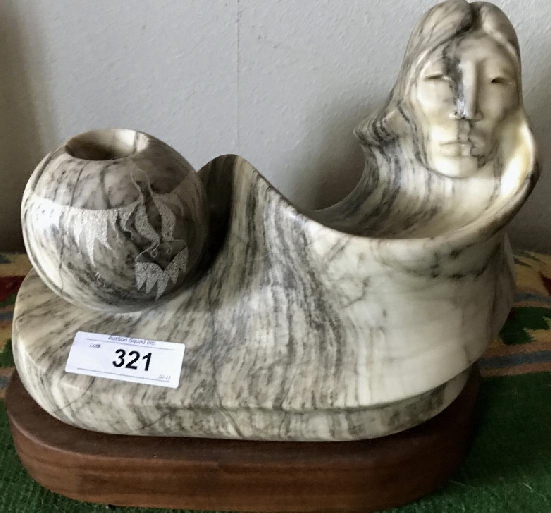 Carved Navajo Alabaster Figure On Wooden Base