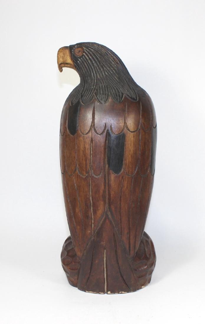ANTIQUE CARVED WOODEN EAGLE - 3