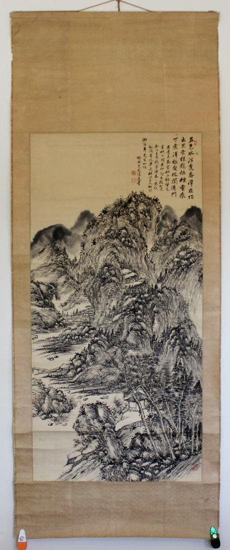 CHINESE INK PAINTING ON PAPER, SIGNED LU ZUN-SHU - 2