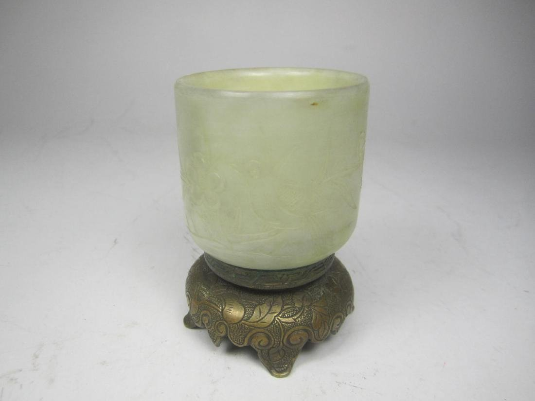 CHINESE GRAY JADE CARVED CUP