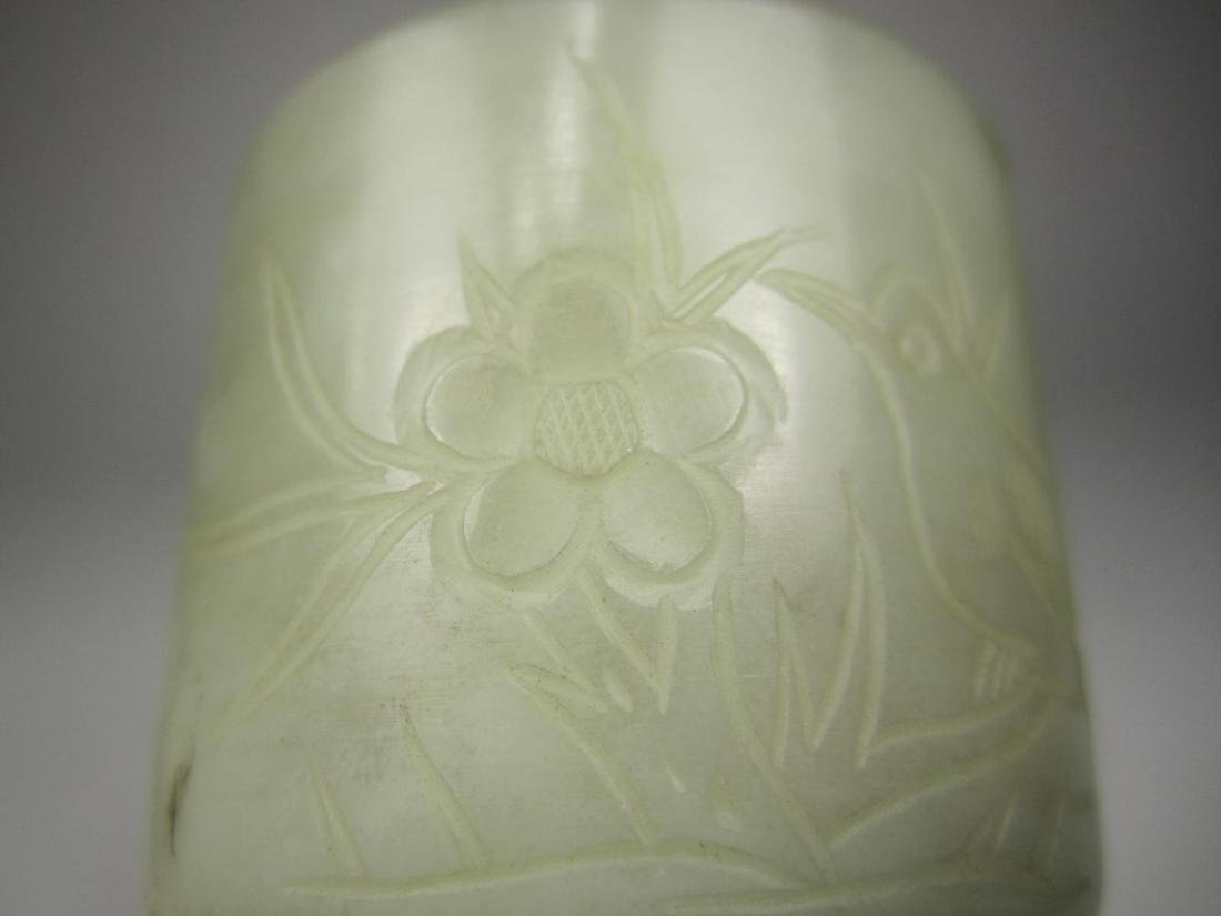 CHINESE GRAY JADE CARVED CUP - 2