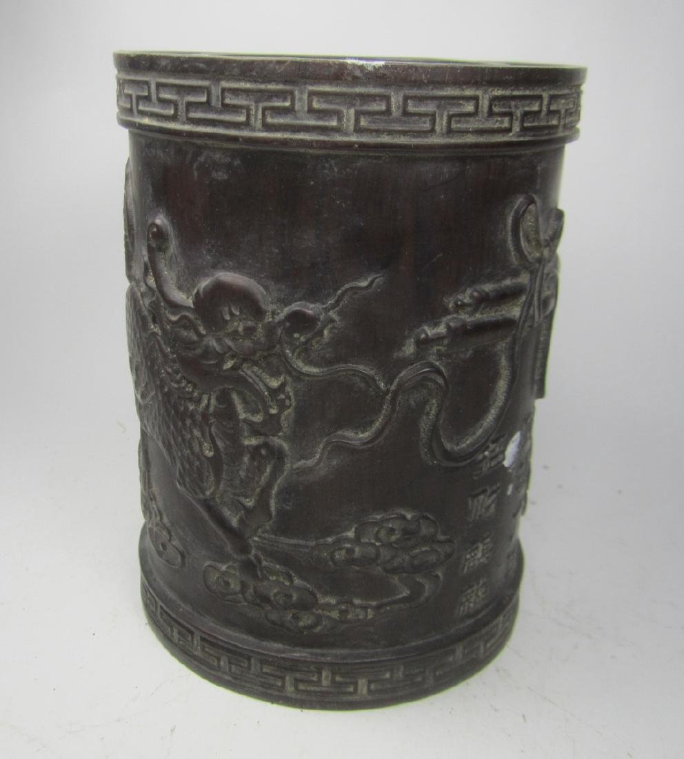 CHINESE CARVED HARD WOOD BRUSH POT