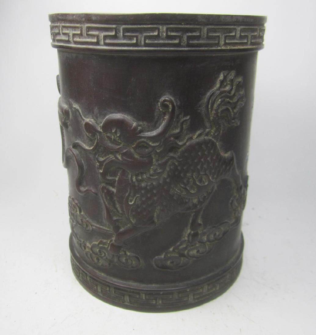 CHINESE CARVED HARD WOOD BRUSH POT - 3