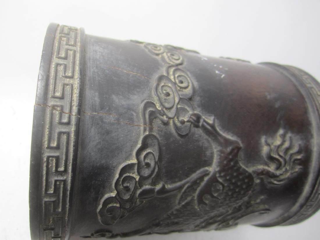 CHINESE CARVED HARD WOOD BRUSH POT - 6