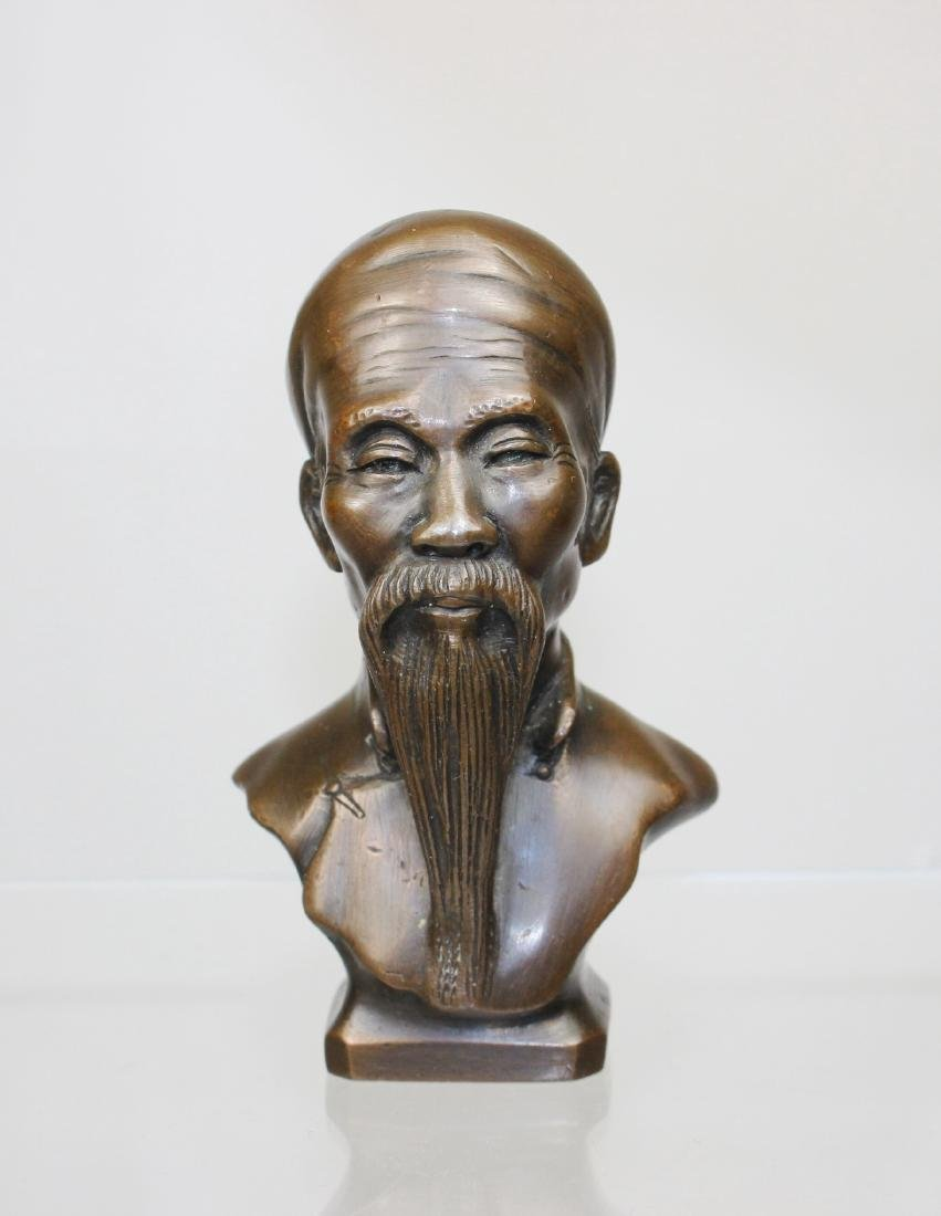 BRONZE BUST OF CHINESE SAGE