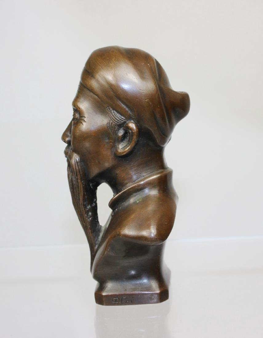 BRONZE BUST OF CHINESE SAGE - 2