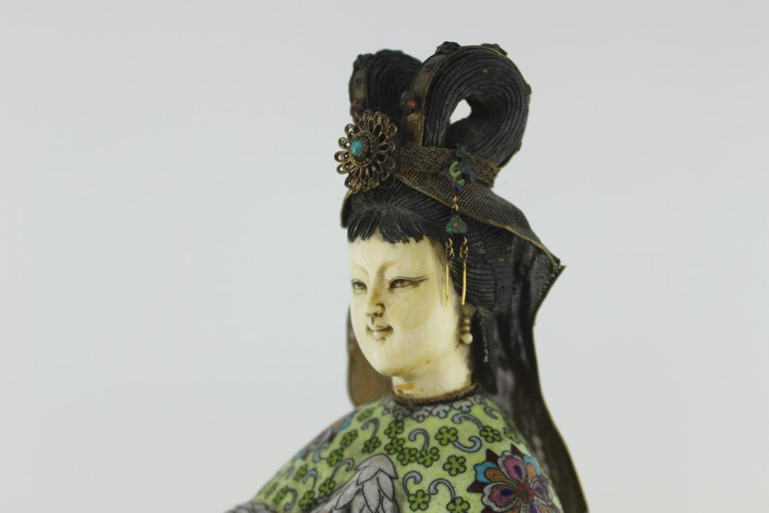 CHINESE CLOISONNE PRINCESS FIGURINE - 10