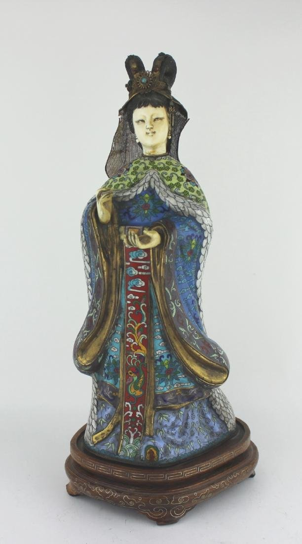 CHINESE CLOISONNE PRINCESS FIGURINE