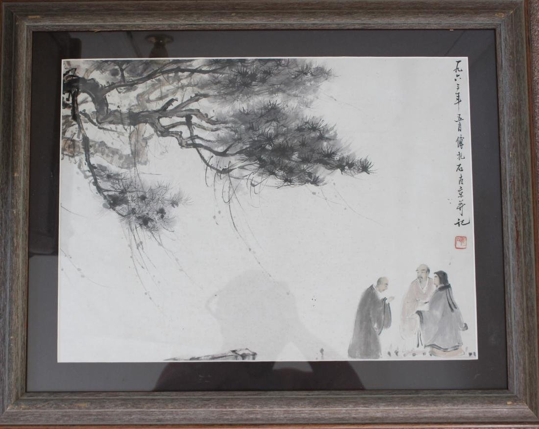 FRAMED CHINESE WATERCOLOR PAINTING