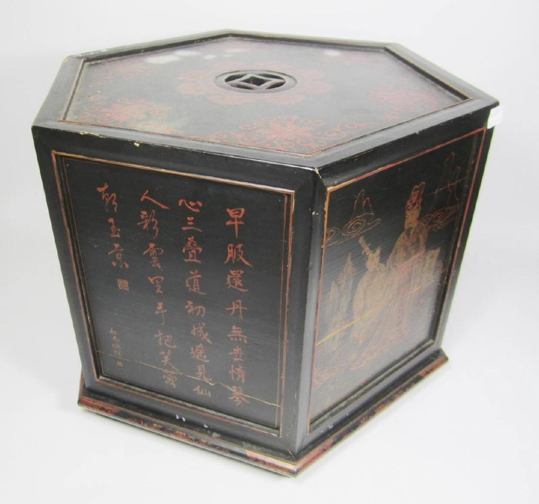 ANTIQUE CHINESE LACQUERED HEXAGON WOOD BOX