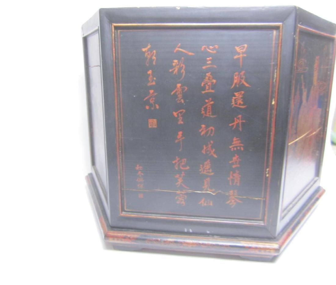 ANTIQUE CHINESE LACQUERED HEXAGON WOOD BOX - 3