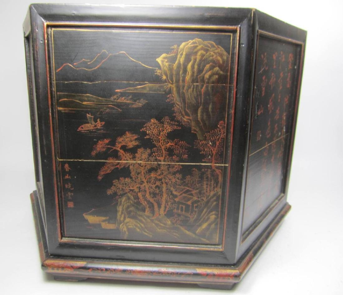 ANTIQUE CHINESE LACQUERED HEXAGON WOOD BOX - 5