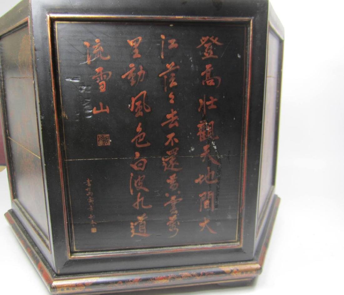 ANTIQUE CHINESE LACQUERED HEXAGON WOOD BOX - 6
