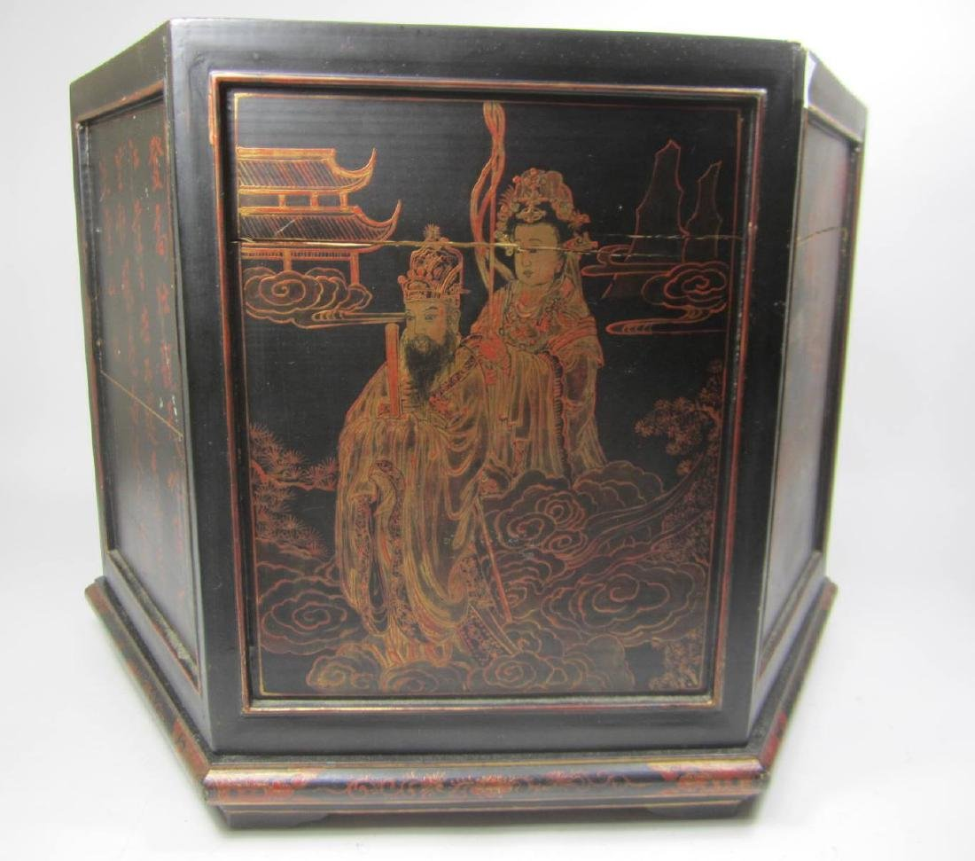 ANTIQUE CHINESE LACQUERED HEXAGON WOOD BOX - 7