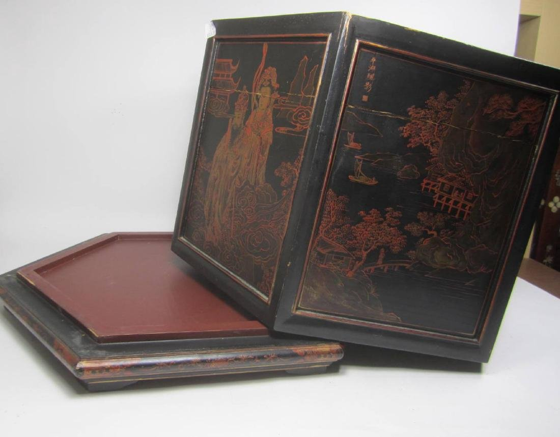ANTIQUE CHINESE LACQUERED HEXAGON WOOD BOX - 8