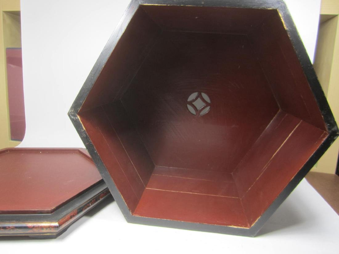 ANTIQUE CHINESE LACQUERED HEXAGON WOOD BOX - 9