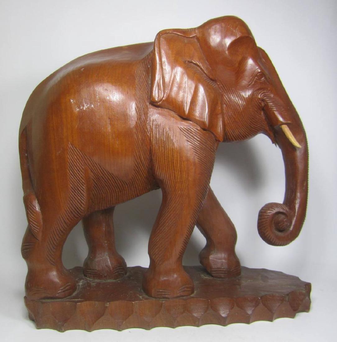 LARGE  CARVED WOOD ELEPHANT