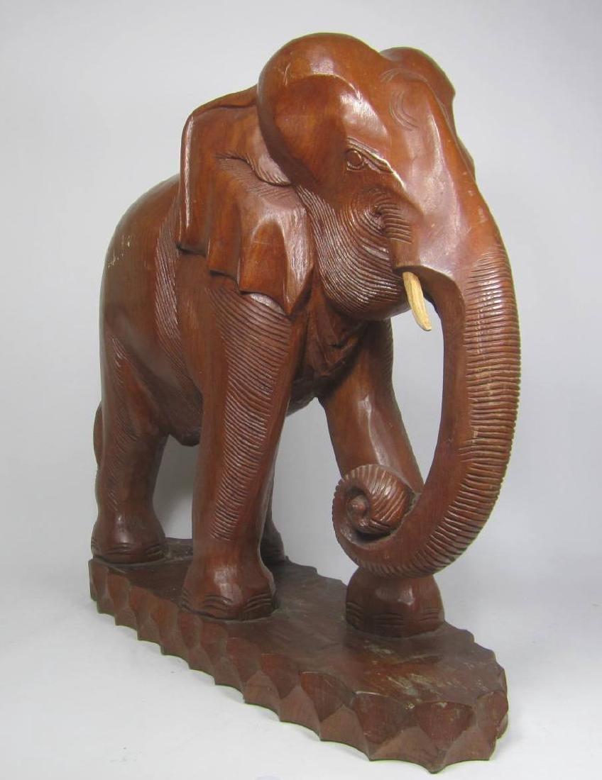 LARGE  CARVED WOOD ELEPHANT - 2