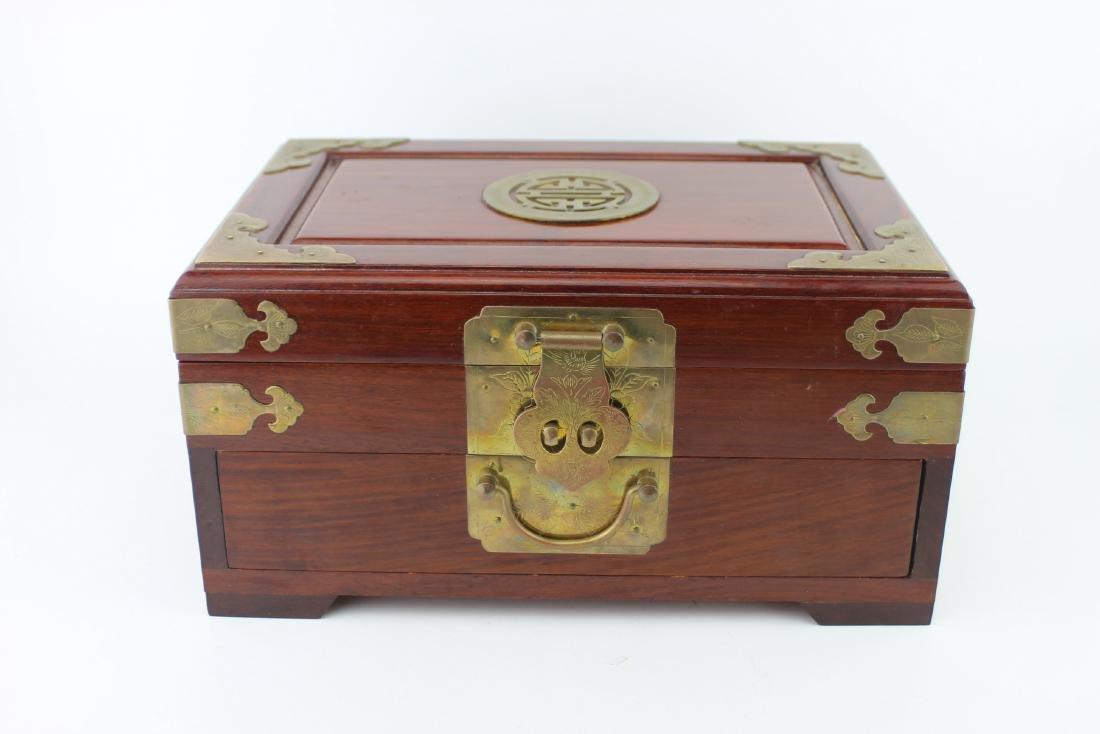 CHINESE REDWOOD JEWELRY BOX - 2
