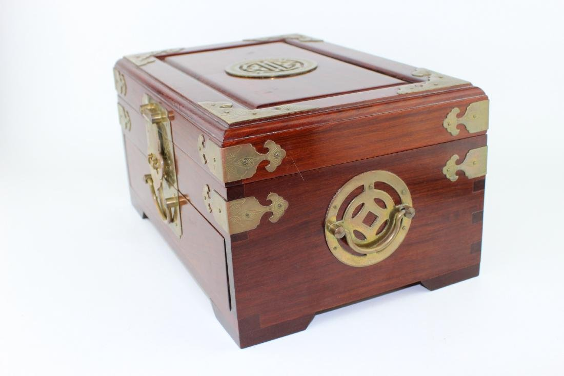 CHINESE REDWOOD JEWELRY BOX - 5