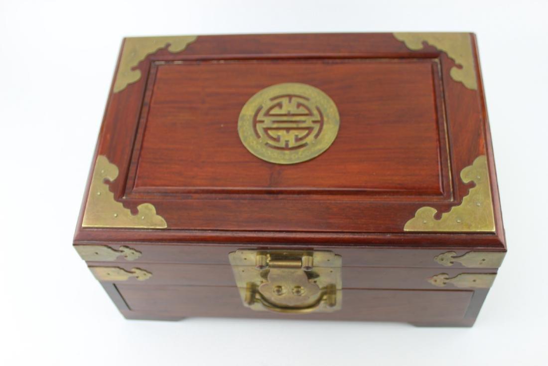 CHINESE REDWOOD JEWELRY BOX - 6
