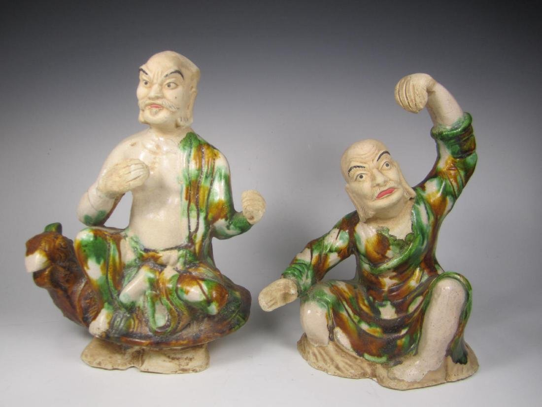 PAIR TANG SANCAI LUOHAN FIGURINES