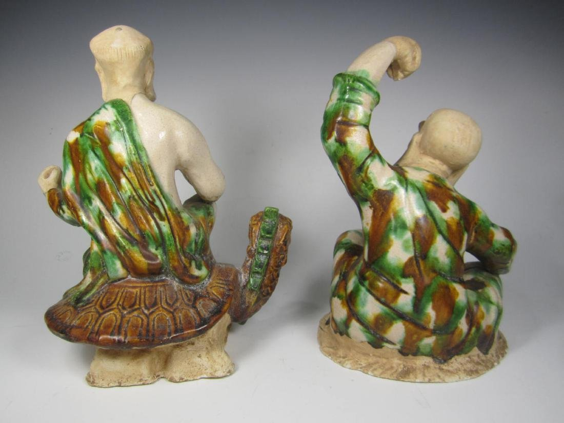 PAIR TANG SANCAI LUOHAN FIGURINES - 3