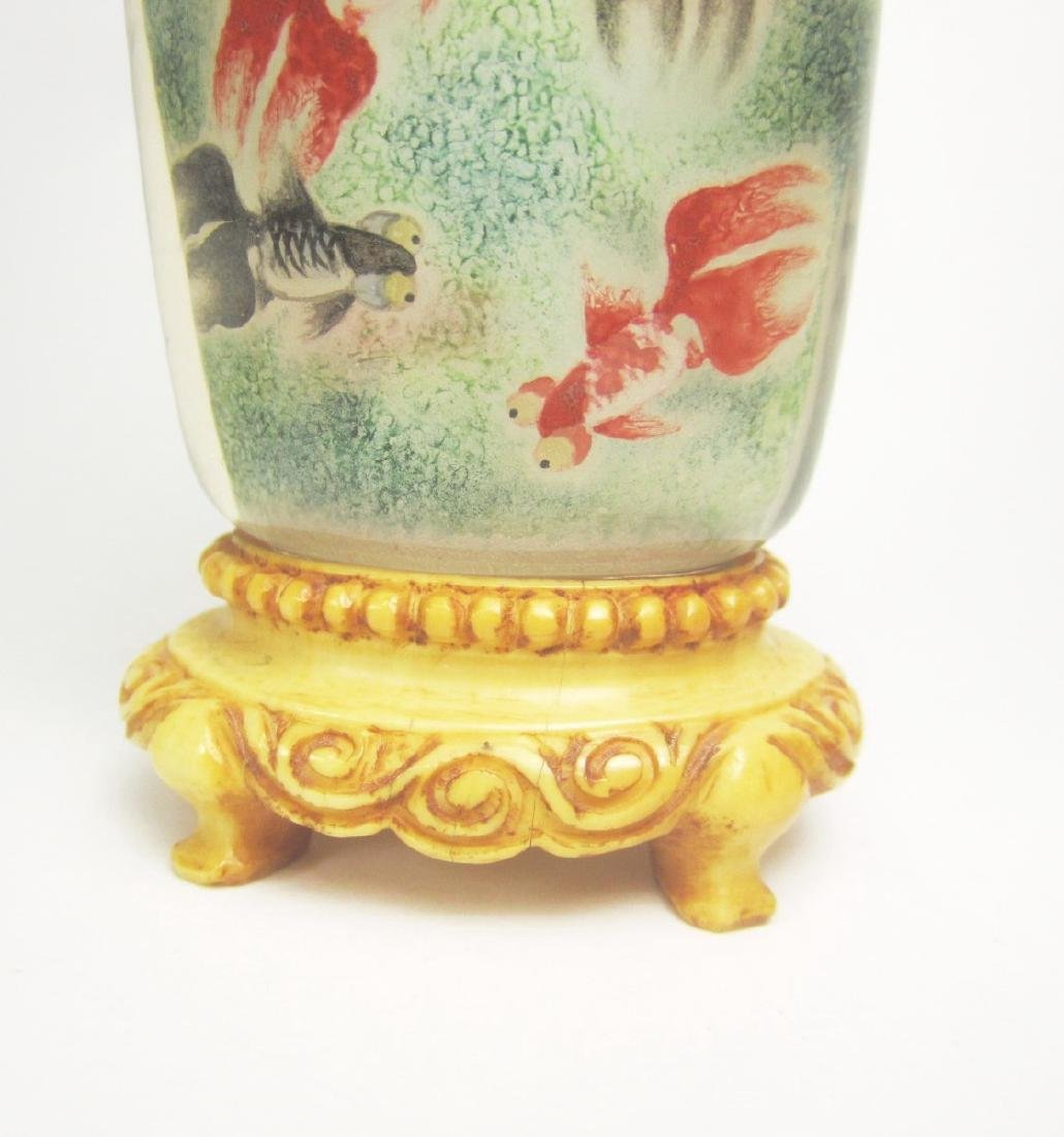 CHINESE INSIDE PAINTING SNUFF BOTTLE WITH BASE - 5