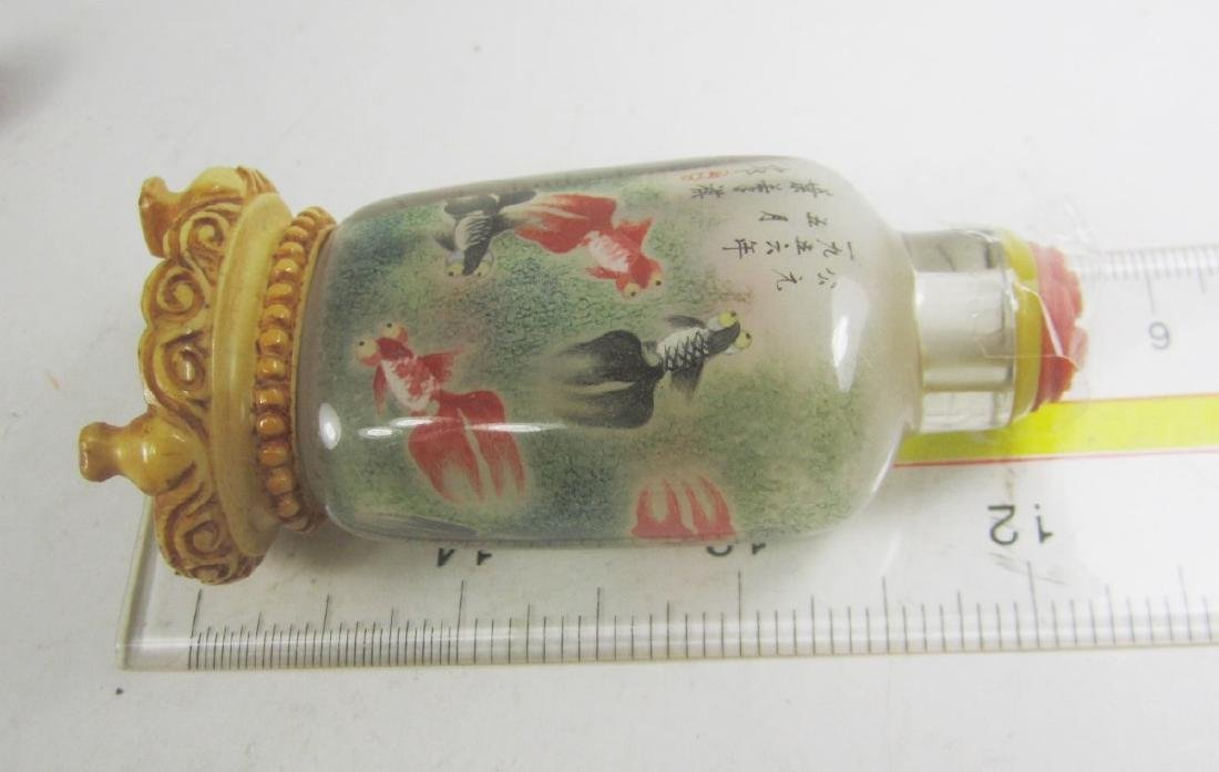 CHINESE INSIDE PAINTING SNUFF BOTTLE WITH BASE - 7