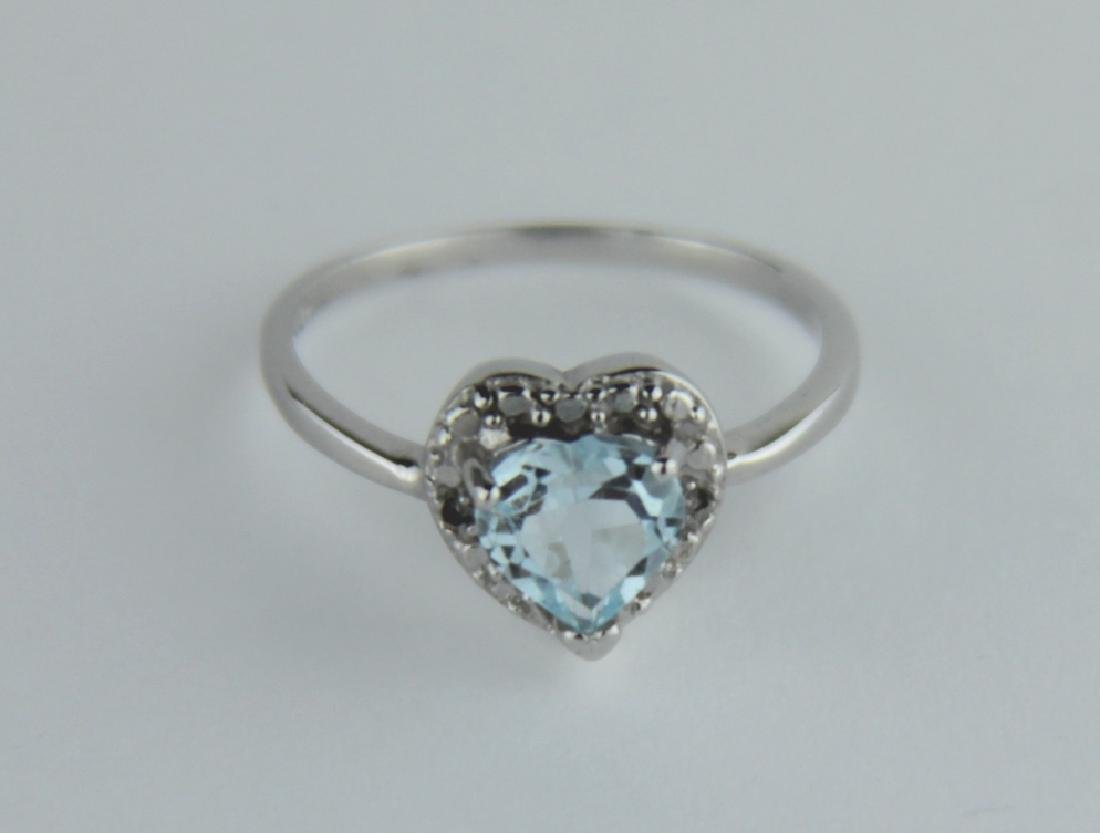 HEART CUT SKY BLUE TOPAZ RING IN STERLING SILVER - 2
