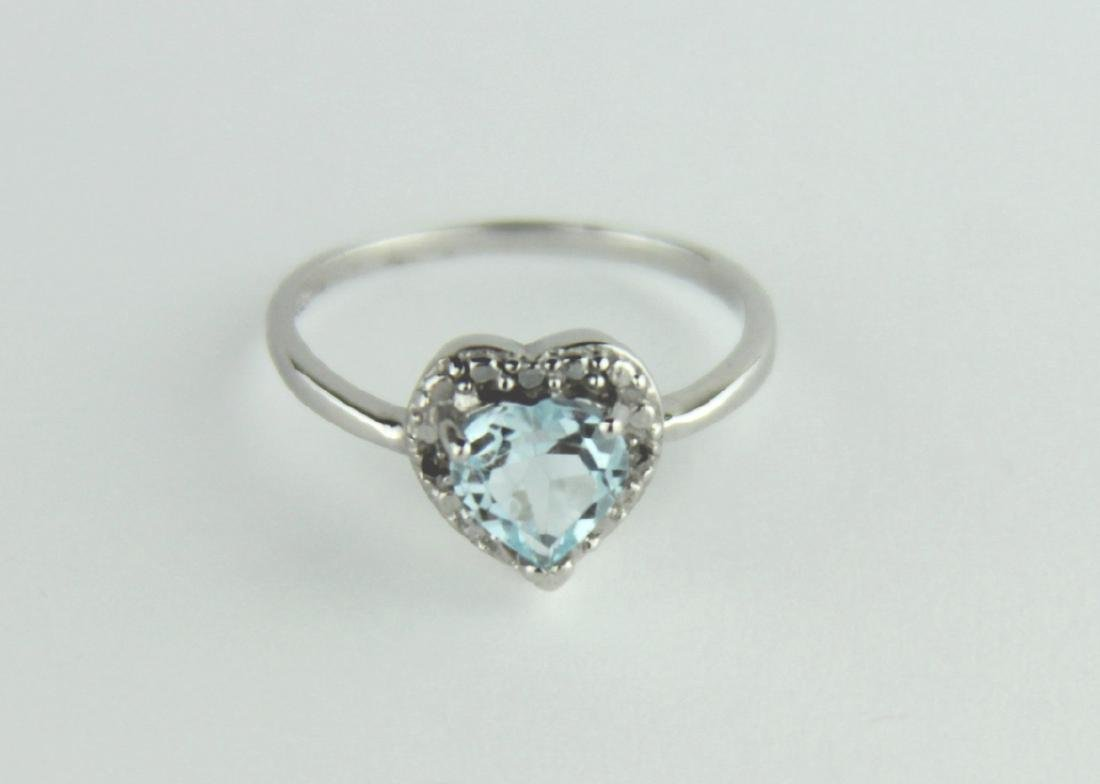 HEART CUT SKY BLUE TOPAZ RING IN STERLING SILVER - 4