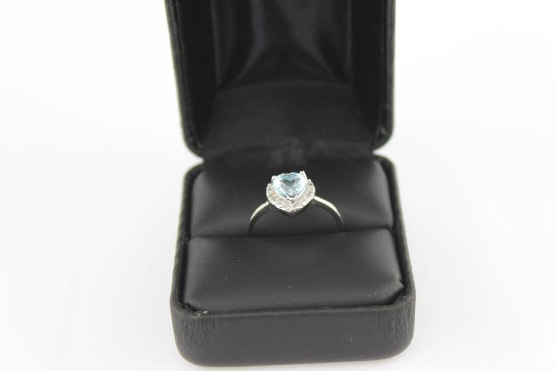 HEART CUT SKY BLUE TOPAZ RING IN STERLING SILVER - 5