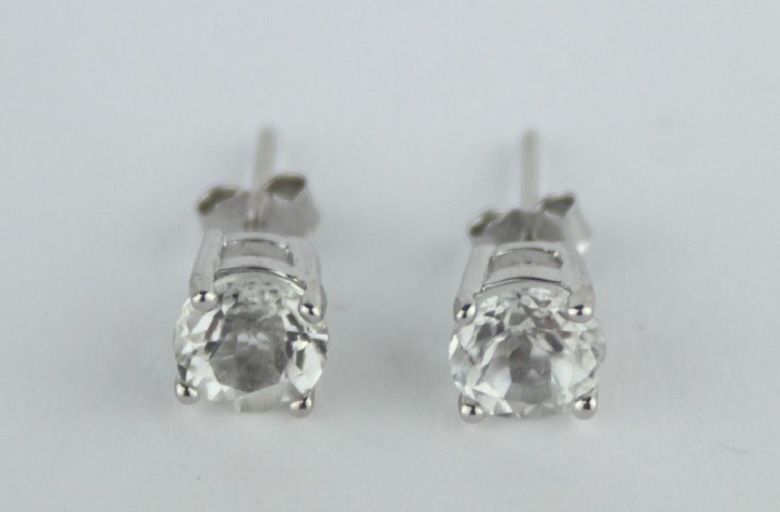 WHITE TOPAZ 2CT TW STUD EARRINGS 6 MM