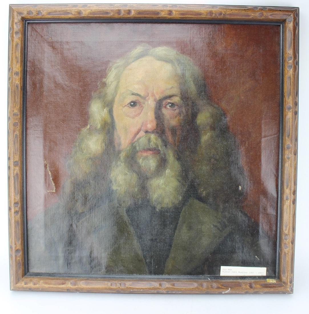 "RUDOLF CARL MUELLER ""OLD MAN"" OIL ON CANVAS"